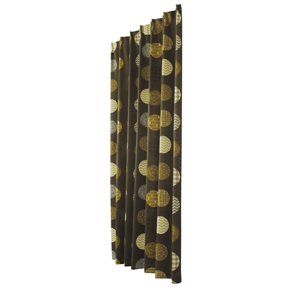 カーテン KOドット 約100×135cm 2枚組 ブラウン(100