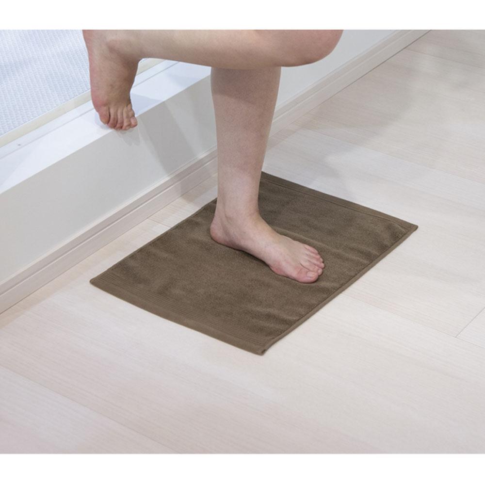 タオルバスマット ブラウン 約34×45cm