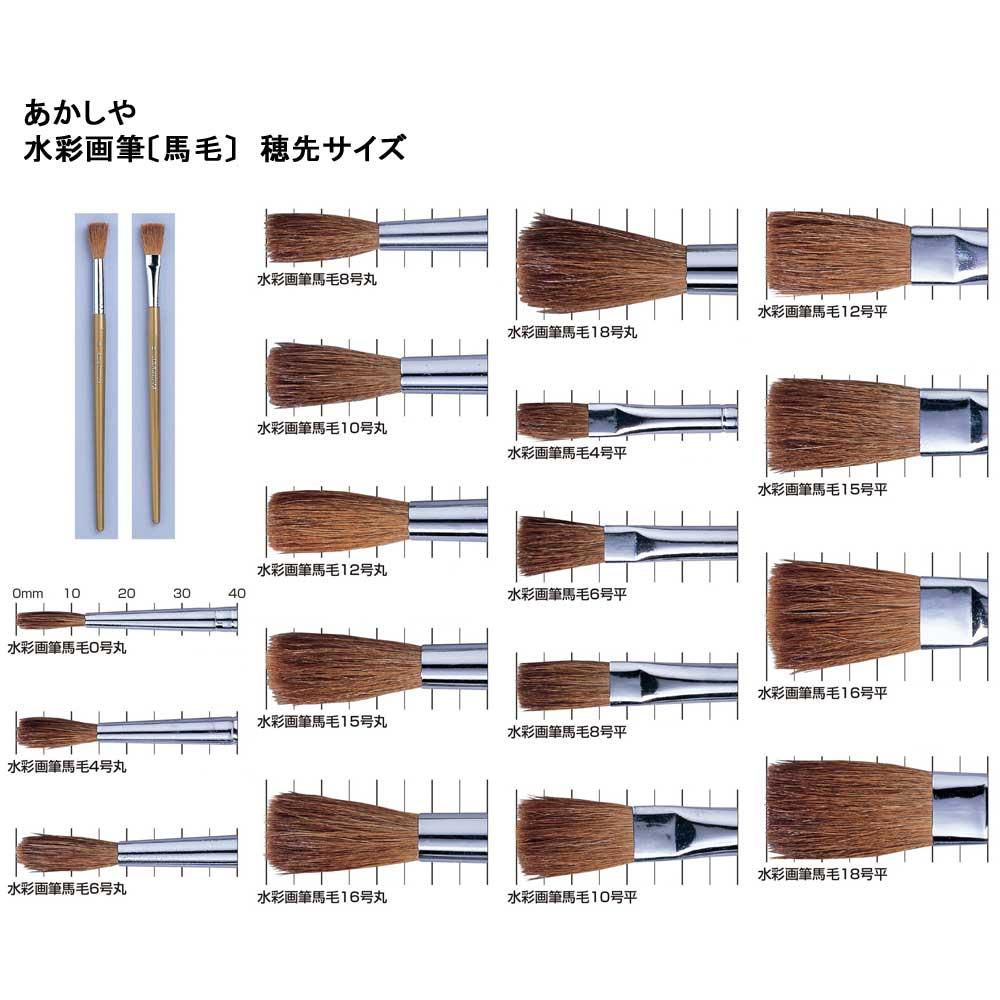 水彩画筆 馬毛 Aセット (丸筆0号・平筆4号・丸筆6号) GU/3VA