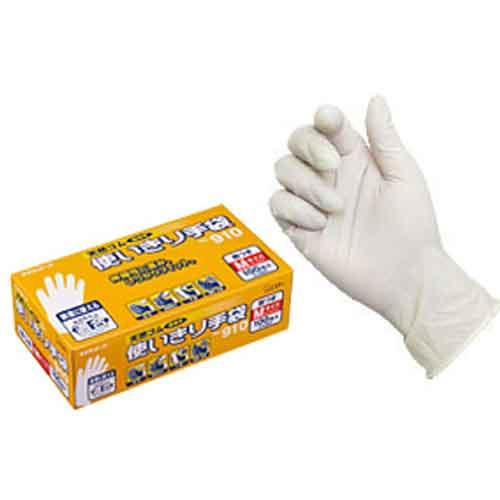 エステートレーディング 天然ゴム使いきり手袋(粉付)100枚入(箱) 910 M ホワイト