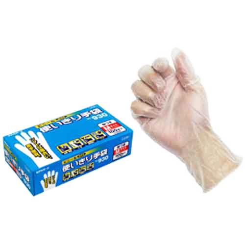 エステートレーディング ビニール使いきり手袋(粉付)100枚入(箱) 930 M クリア