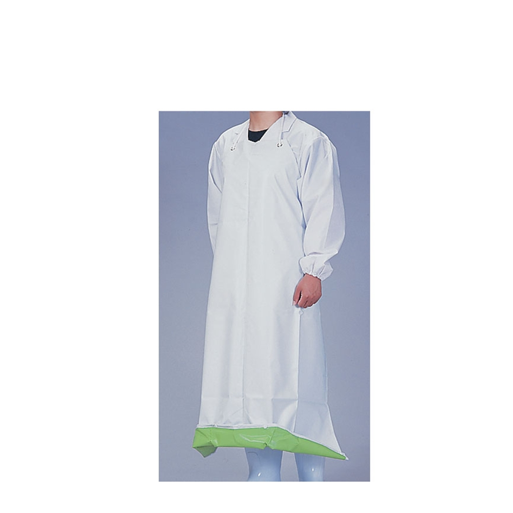 機能性エプロン ガードロン 塩ビ抗菌 ひもS ホワイト/グリーン