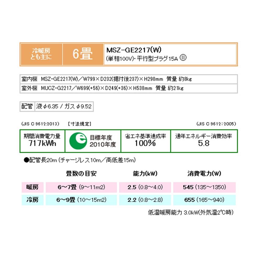 三菱 冷暖ルームエアコン MSZ−GE2217−W ルームエアコン霧ヶ峰GEシリーズ