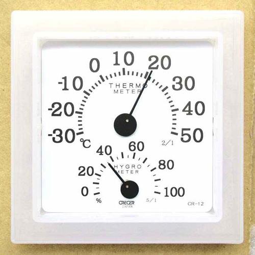 CRECER 温湿度計クリアミニ ホワイト CR−12W