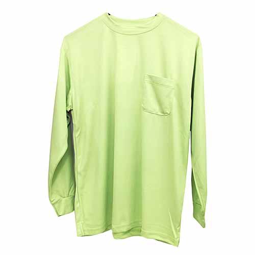 紳士長袖丸首Tシャツ ライトグリーン L FS13−KTN−B
