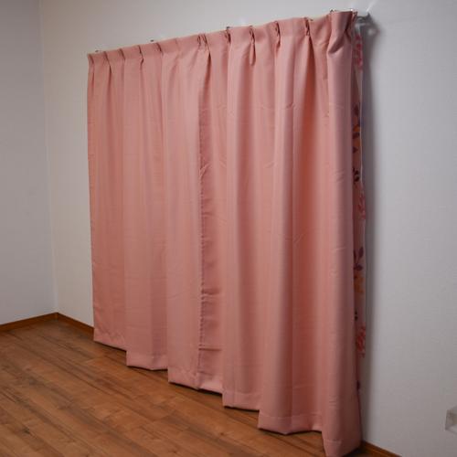 カーテンフランド ピンク 4枚組 約幅100×丈200cm
