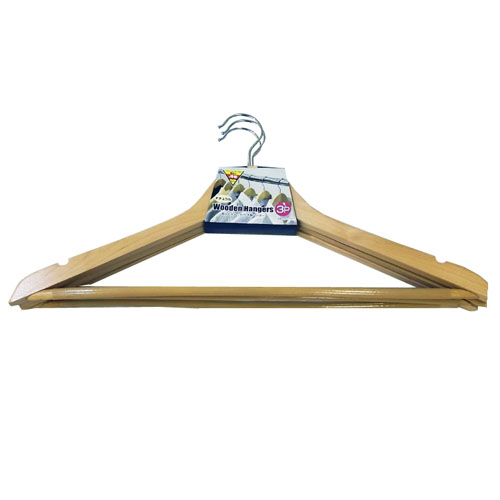 肩ひもキャッチ付木製 ハンガー3P NA