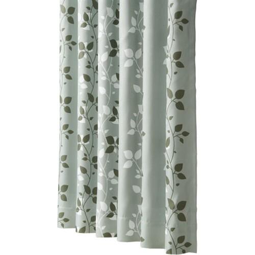 遮光性プリントカーテン 『リーフ』 グリーン 約幅100×丈135cm 2枚組