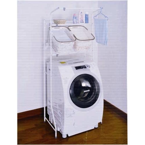 コーナンオリジナル 市販のバスケットを置いて使える バスケット棚付 洗濯機ラック HON21-2823 サイズ:W67〜97(外寸)・W61〜91(内寸)×D46×H186cm