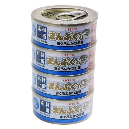 まんぷくミニ缶ゴールド まぐろかつお味 ゼリータイプ 70g×4缶