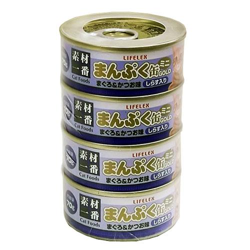 まんぷくミニ缶ゴールド まぐろかつお味しらす入り ゼリータイプ 70g×4缶