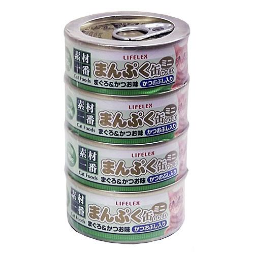 まんぷくミニ缶ゴールド まぐろかつお味かつおぶし入り ゼリータイプ 70g×4缶