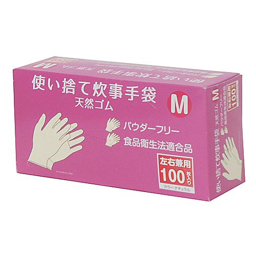 使い捨て 炊事手袋 天然ゴム 100枚入り M KFY05−1128