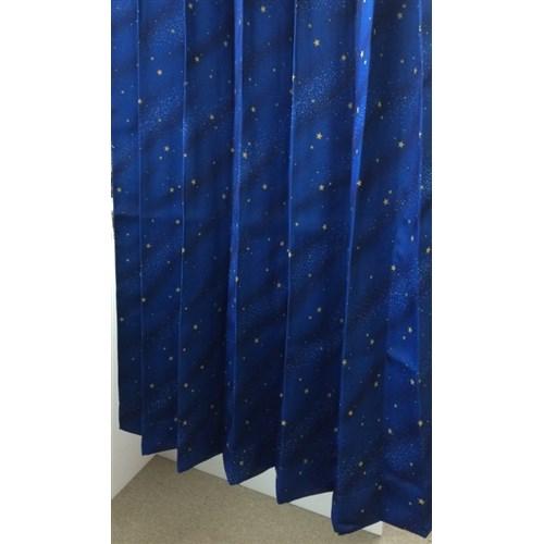 厚地カーテン 「スター」 2枚組 ブルー 約幅100×丈100cm