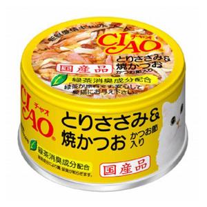 CIAO ホワイティ とりささみ&焼かつお かつお節入り 85g Cー54