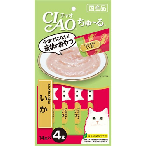 CIAO ちゅ〜る とりささみ&いか 14g×4本