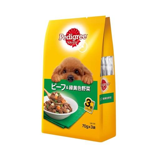 ペディグリーパウチ 成犬用 ビーフ&緑黄色野菜 70g×3P