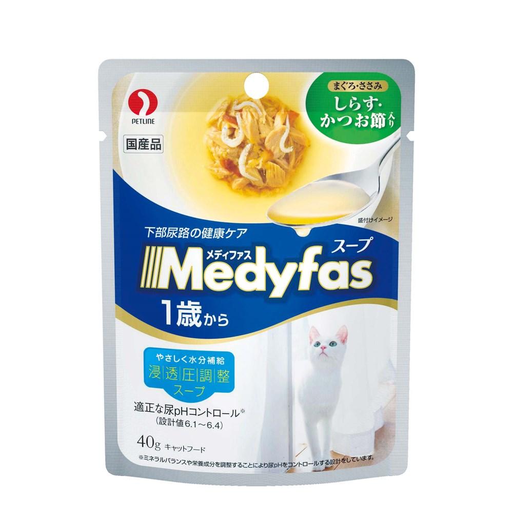 メディファス スープパウチ 1歳から 成猫用 しらす・かつお節入り40g
