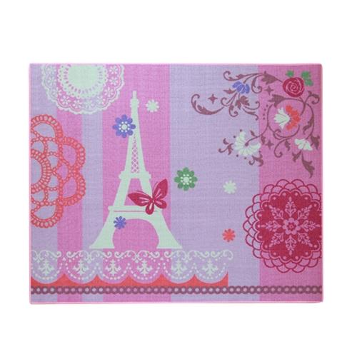 デスクカーペット 女の子 エッフェル柄 『ジェンヌ』 ピンク 110×133cm