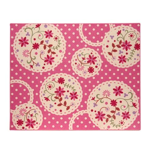 デスクカーペット 女の子 花柄 『パミュツー』 ピンク 110×133cm