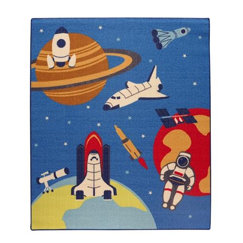 デスクカーペット 男の子 宇宙柄 『スペース』 ブルー 110×133cm