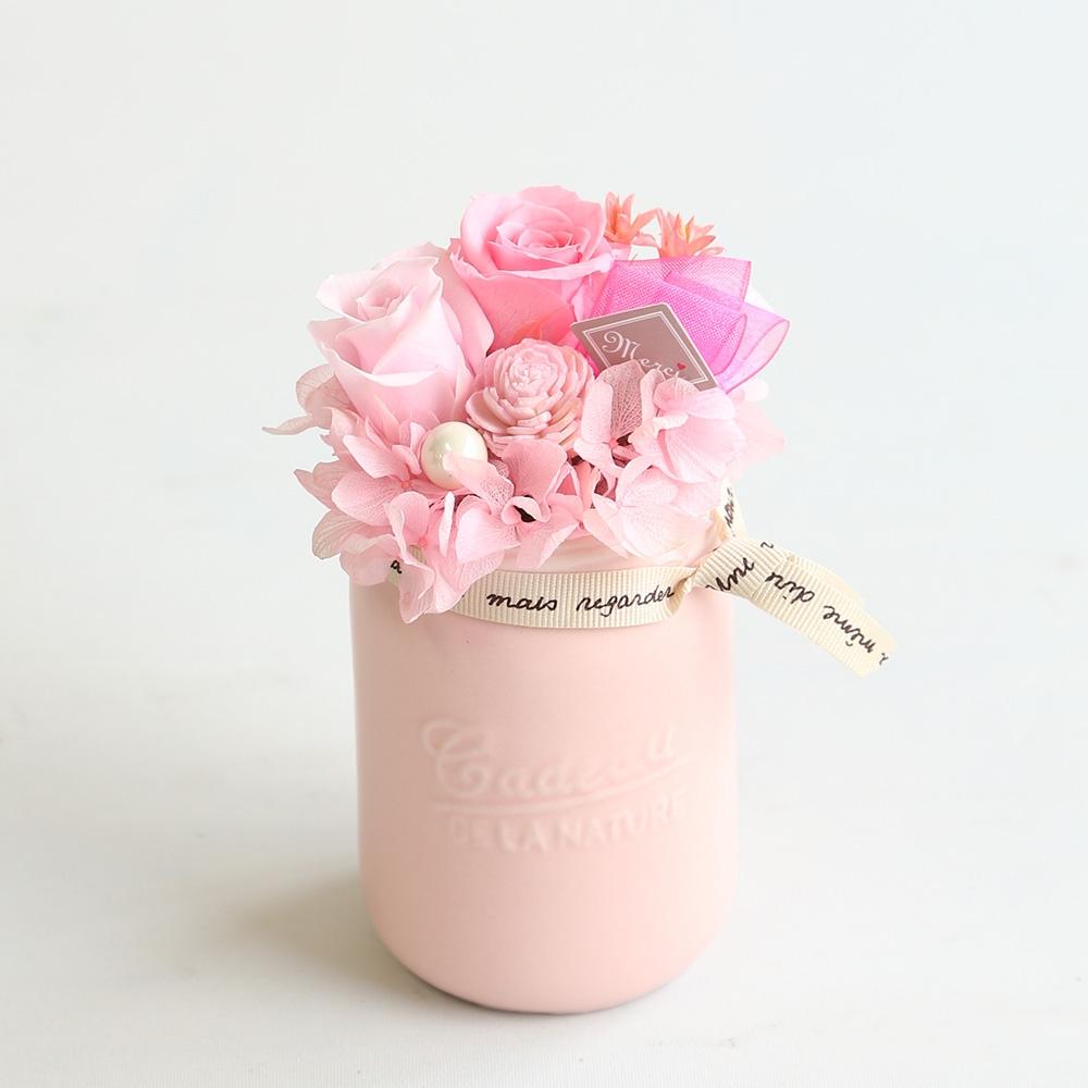 プリザーブドフラワー「ミニポット」ピンク※全国配送対応品
