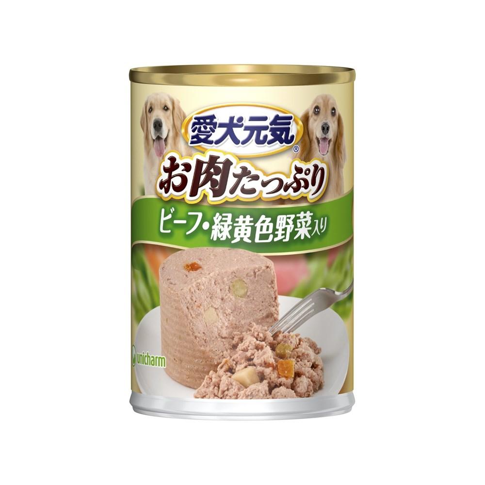 愛犬元気缶ビーフ・緑黄色野菜入り375g【ドッグフード ウェット】