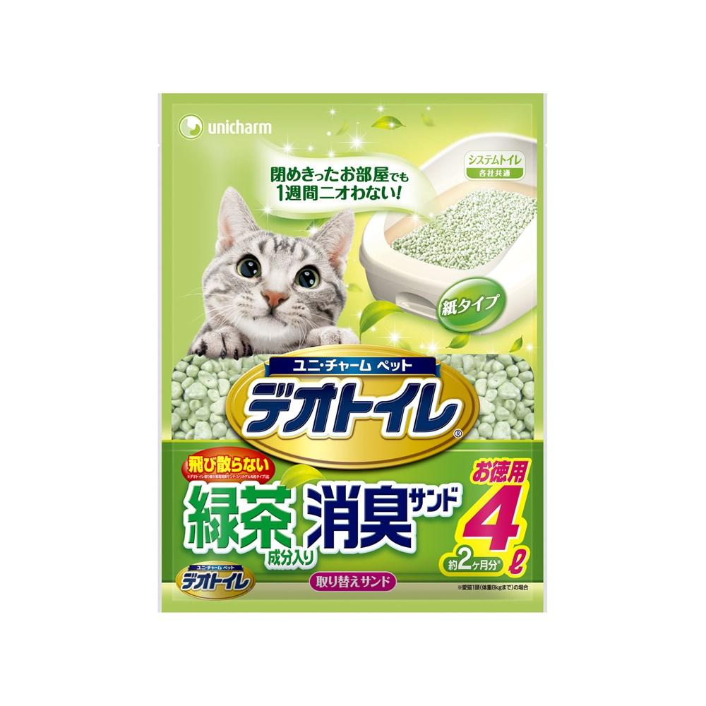 ◎デオトイレ飛び散らない緑茶成分入り消臭サンド4L【システムトイレ用猫砂】