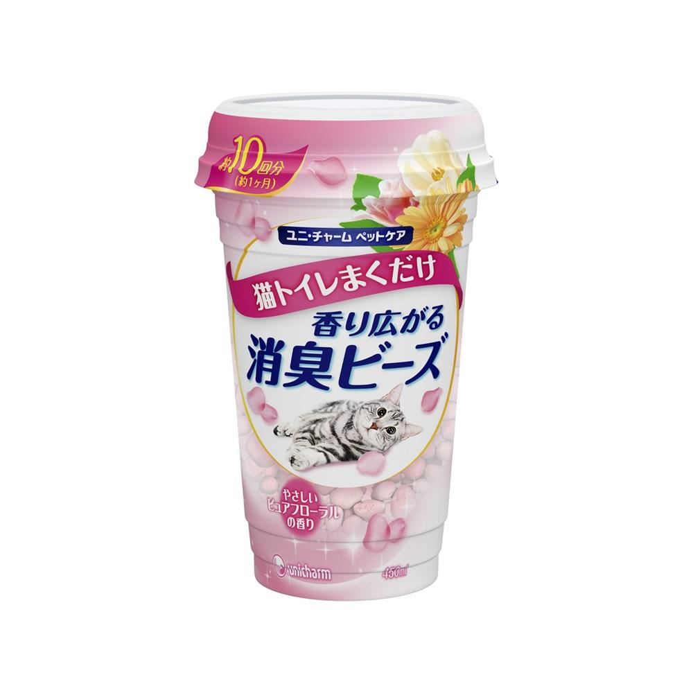 猫トイレまくだけ 香り広がる消臭ビーズやさしいピュアフローラルの香り450ml【猫トイレ用消臭ビーズ】
