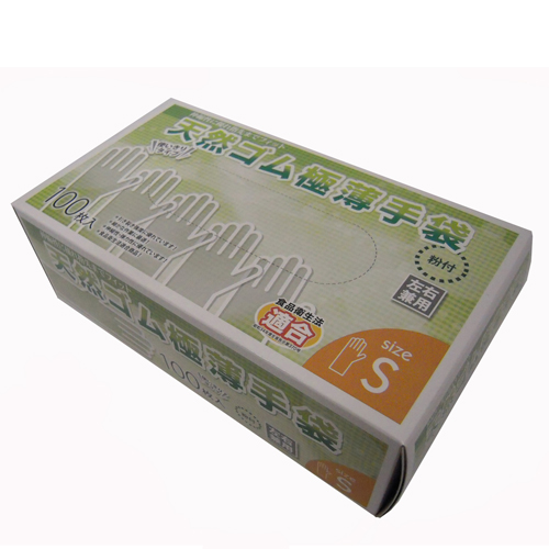 天然ゴム極薄手袋S 100枚 KW04−4850