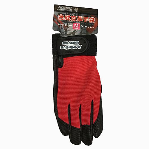 PU革手袋 レッド M KU04−2150