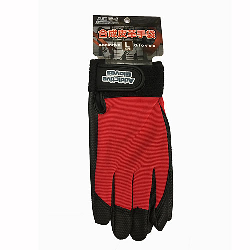 PU革手袋 レッド L KU04−2167