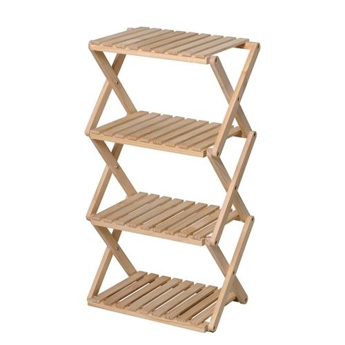 コーナンラック 折り畳み式木製ラック W460(4段) ナチュラル