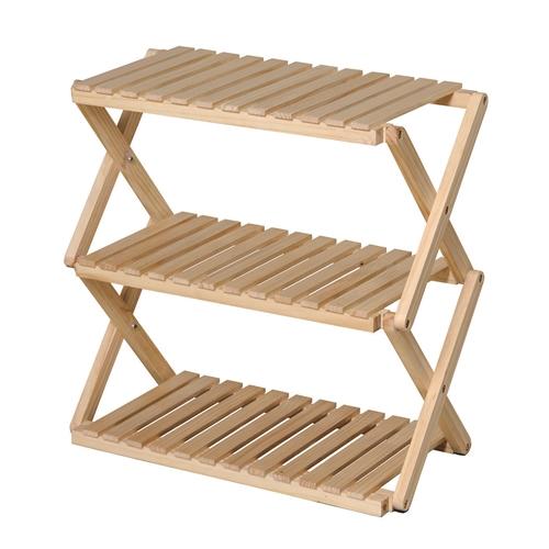 コーナンラック 折り畳み式木製ラック3段 ワイドタイプ