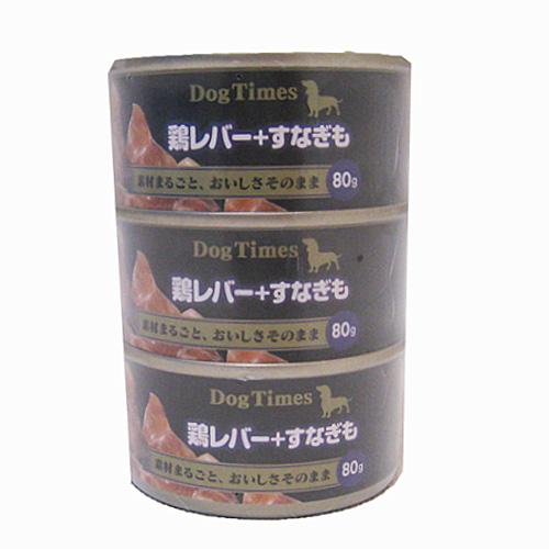 ドッグタイムスミニ缶 鶏レバー+すなぎも 80g×3