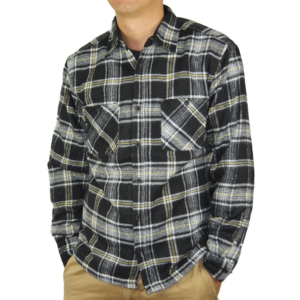 裏フリースワークシャツ 黒 M