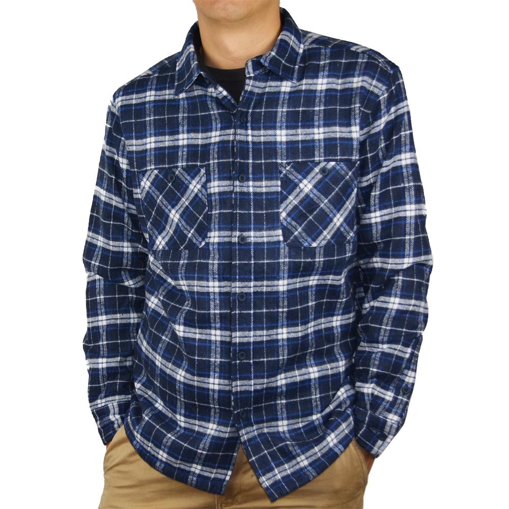 裏フリースワークシャツ ブルー M