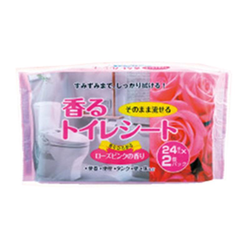 そのまま流せる 香るトイレシート24枚×2個パック ローズの香り KHS21−3665