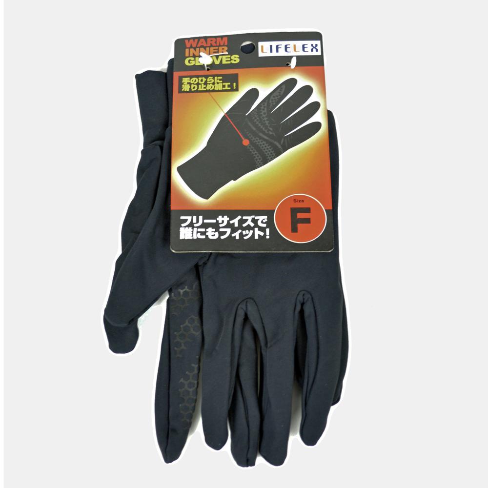 コーナン オリジナル 防寒インナーグローブ (滑り止め付) フリーサイズ ブラック KFJ07-3731
