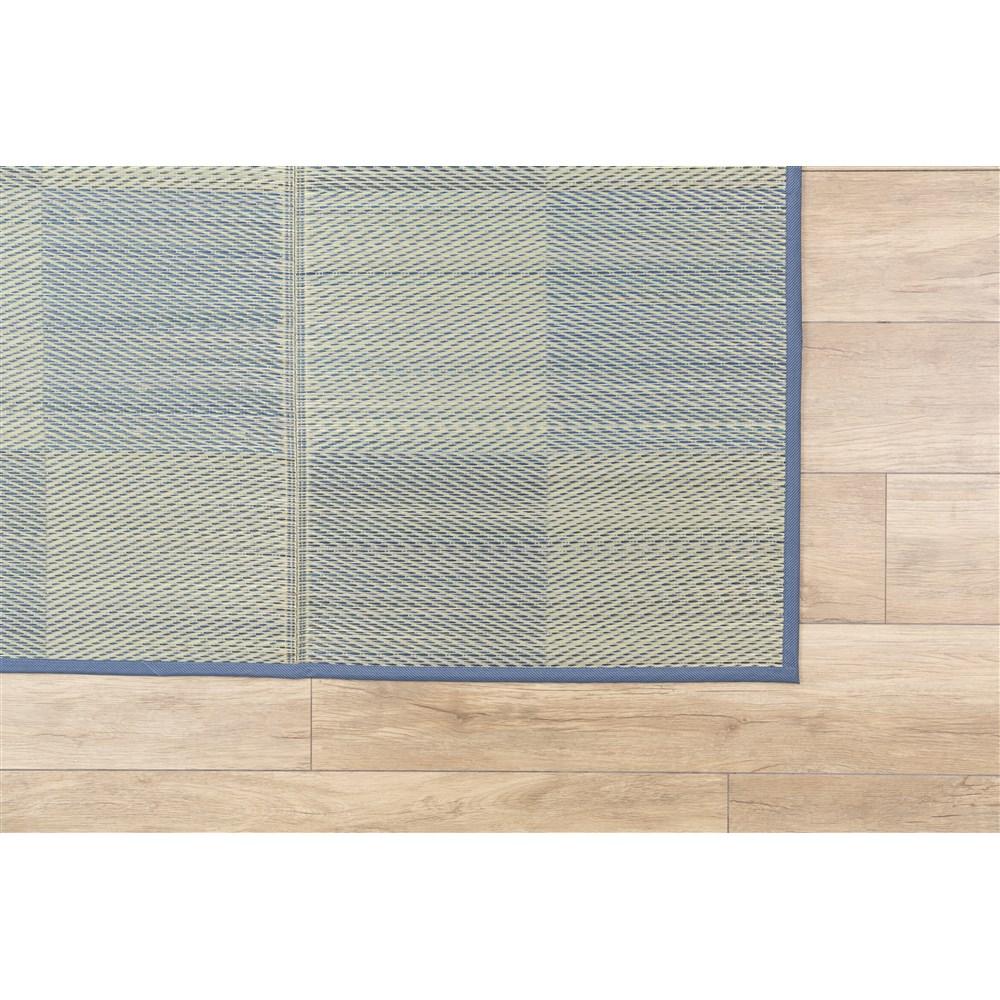 い草ふっくらラグ ブロック ブルー 約180×180cm