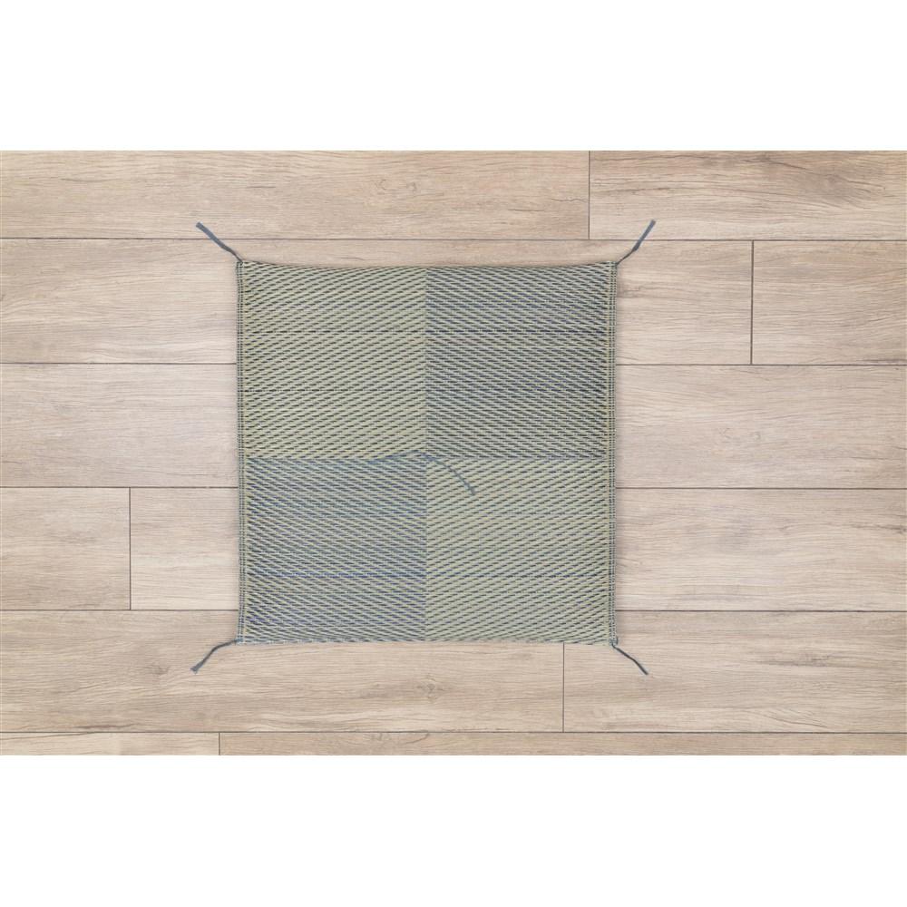 座布団 ブロック ブルー 約55×55cm