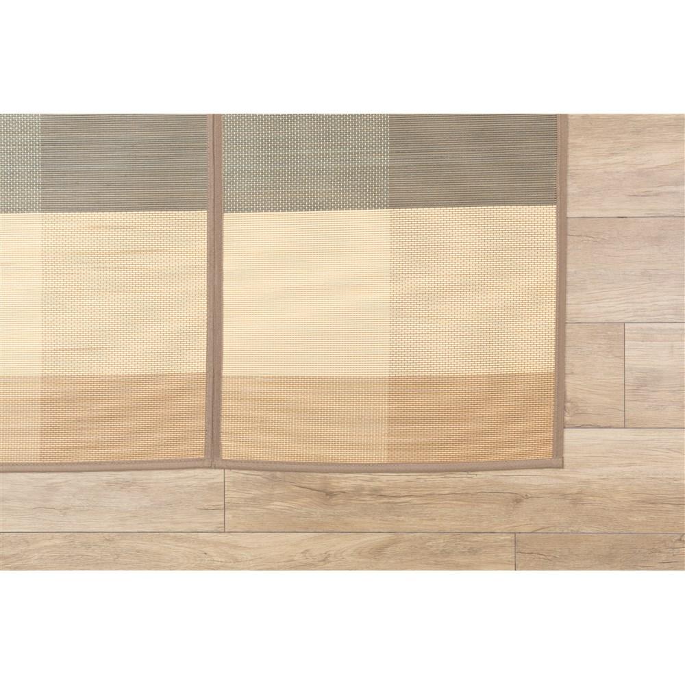 竹ふっくらラグ ブロック ベージュ 約180×240cm