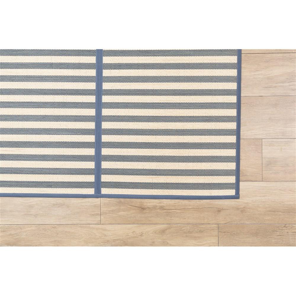 竹センターラグボーダー ブルー 約180×180cm