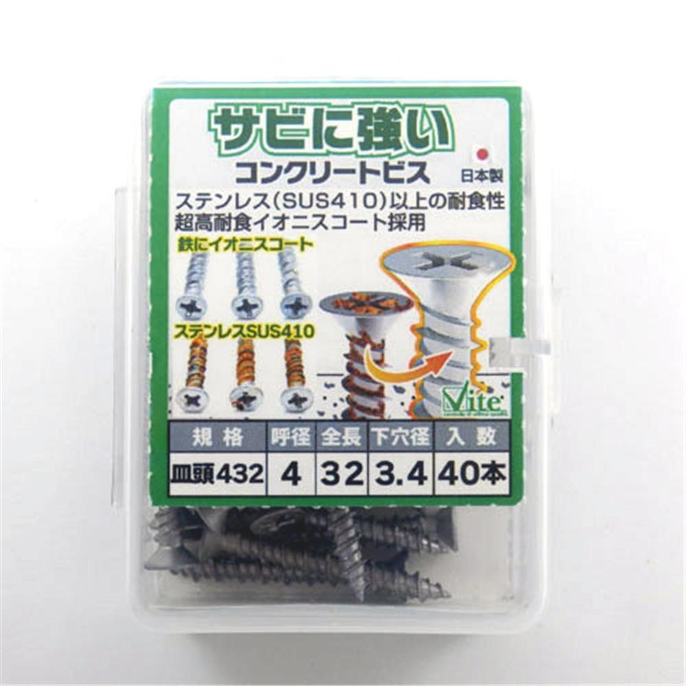錆に強いコンクリートビス PP皿4X32 562−146