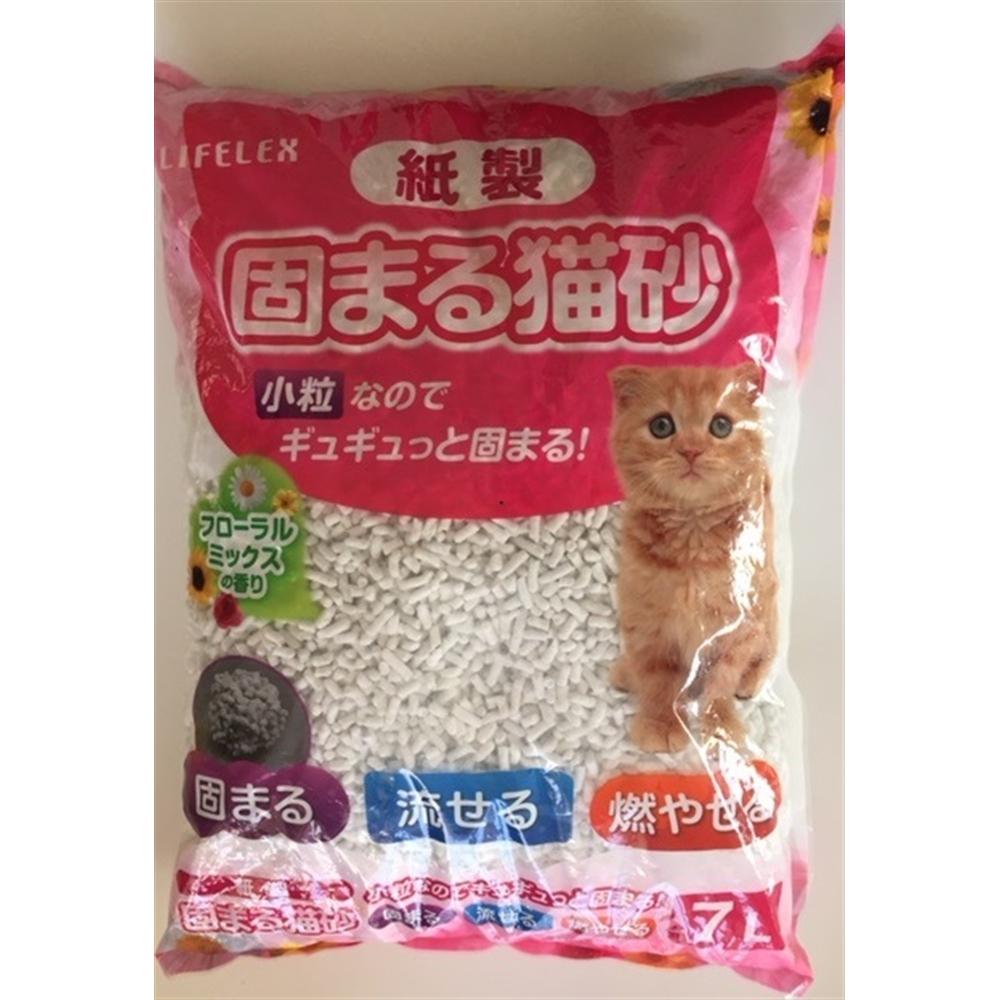 紙製 固まる猫砂小粒フローラルミックス 7L