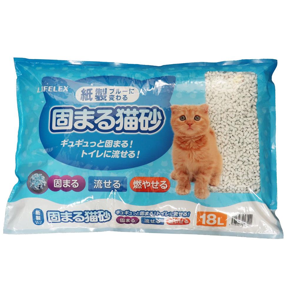 紙製固まる猫砂 ブルーに変わる 18L
