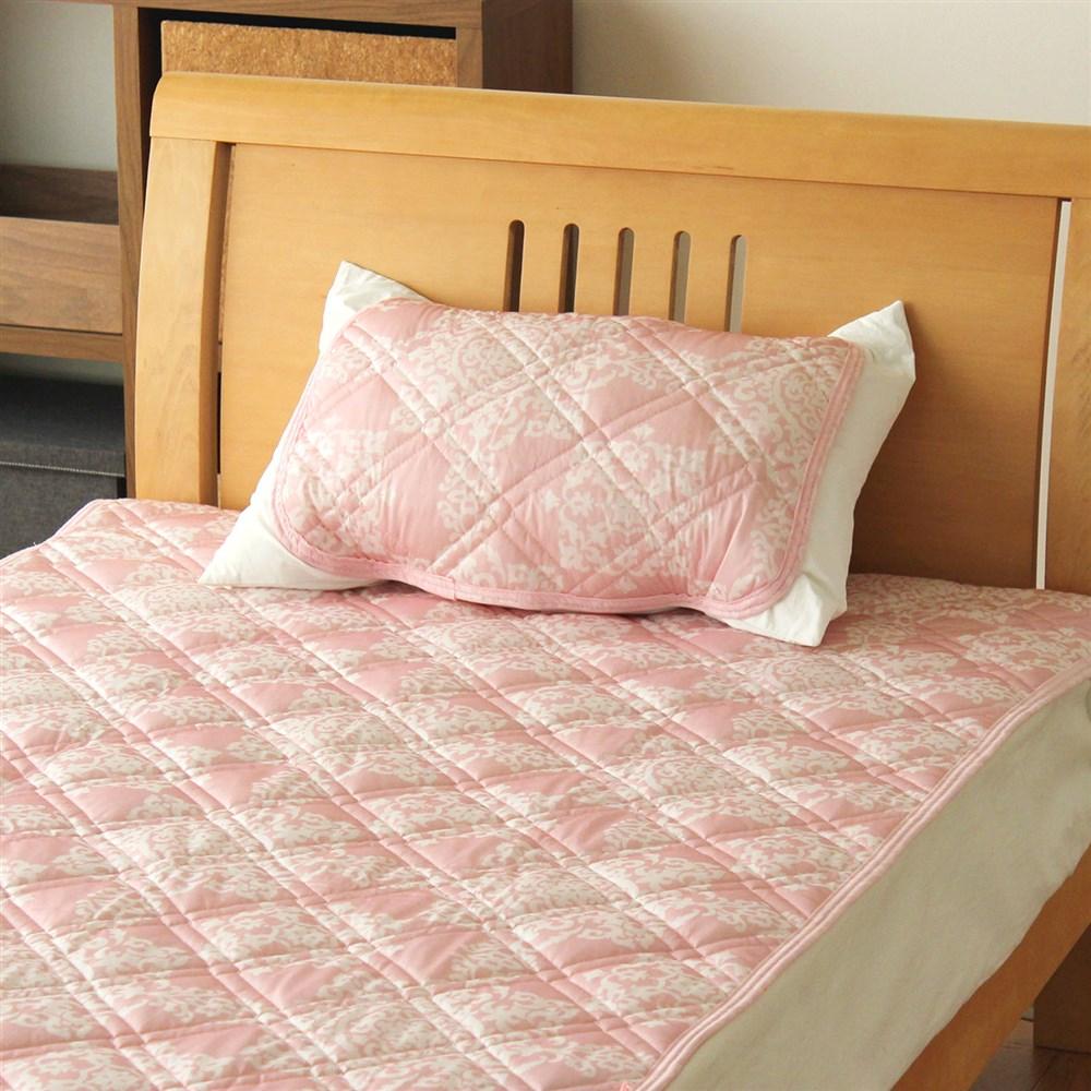枕パッド 冷感&DRYパイル ダマスク 35x50、43x63cmサイズ兼用 MP184016−16