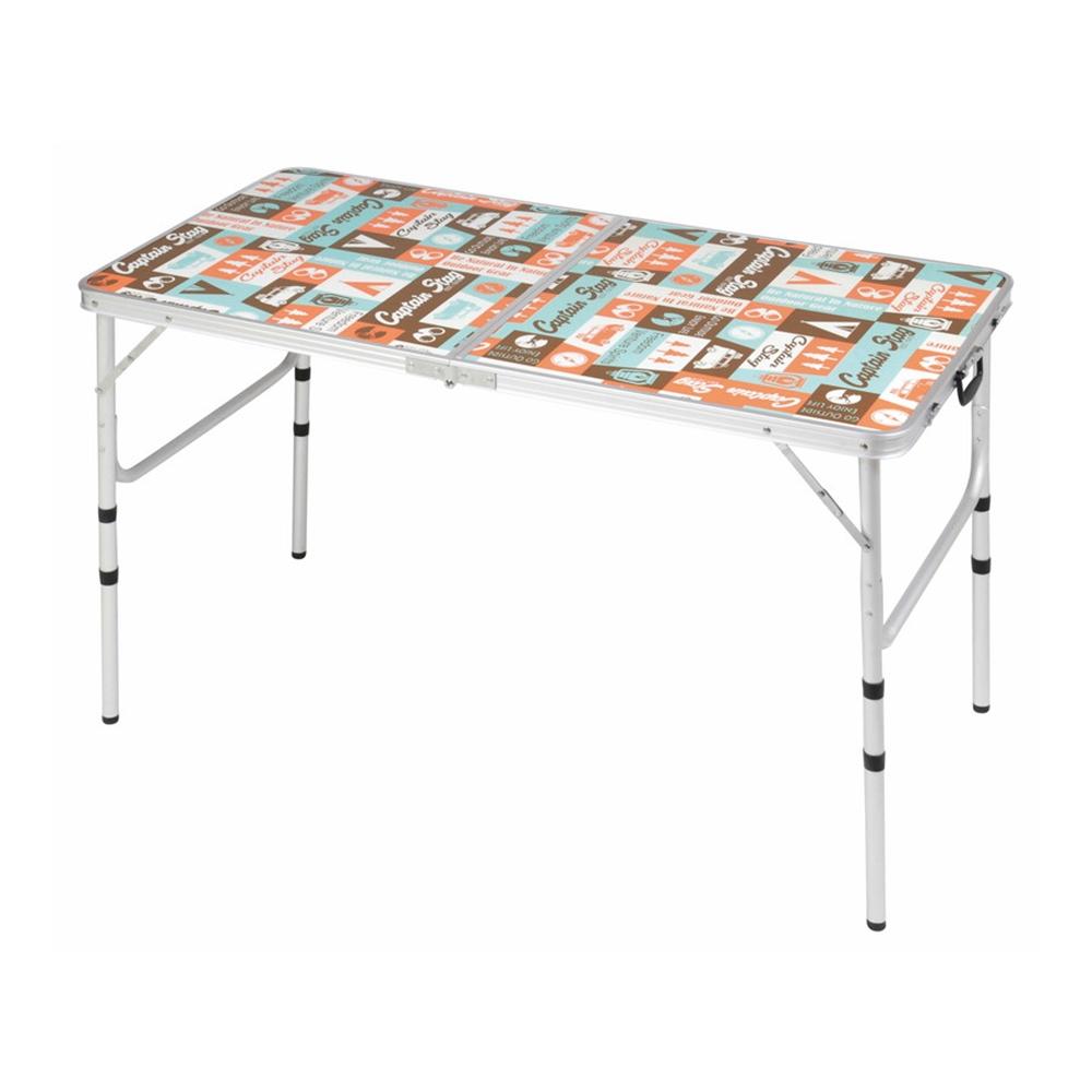 キャプテンスタッグ(CAPTAIN STAG) キャンプ BBQ用 テーブル 机 アルミ フォーウェイ テーブル アジャスター付 高さ調整4段階 Mサイズ 120×60cm レジャーロード UC-531 ※椅子は付いておりません。