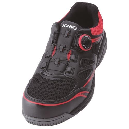 イグニオ 安全靴 ダイヤル IGS1015BKRD22.5