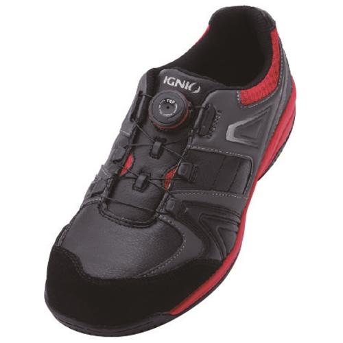 イグニオ 安全靴 ダイヤル IGS1027BKRD24.0